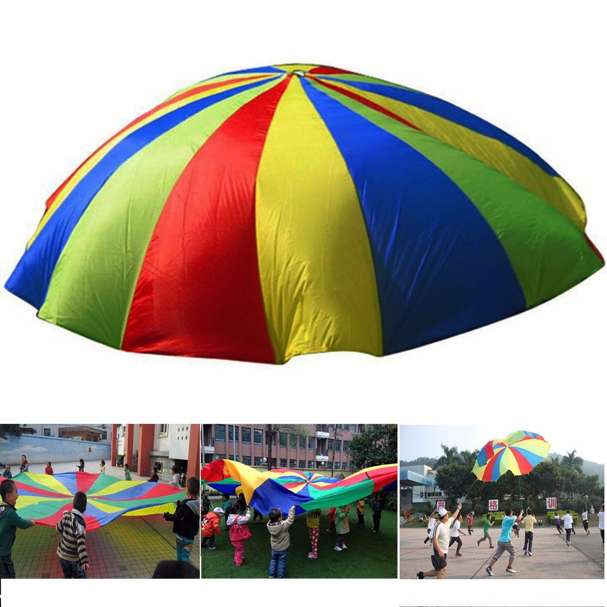 Handles Children Kids Teamwork Cooperative Play Rainbow Parachute 6m Waterproof Outdoor Game Exercise Sport Tool Toy hand throwing kids mini play parachute toy soldier outdoor sports children s educational toys free shipping