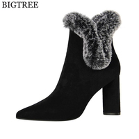 High Quality Sexy Women Boots Winter High Heels Ankle Boots Shoes Women Fall Ladies Rabbit Hair