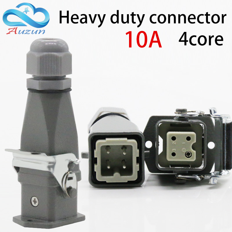 Heavy duty connector 4 (3 + 1) 10A 250V HA-004-2 top-line hot channel air plug heavy duty connectors hdc hee 018 1 f m 18pin 16a industrial rectangular aviation connector plug