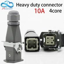 цена на Heavy duty connector 4 (3 + 1) 10A 250V HA-004-2 top-line hot channel air plug
