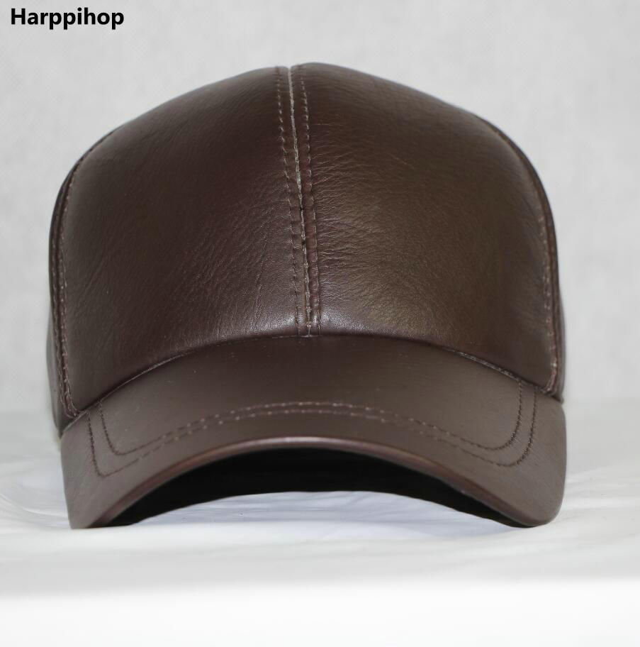 48cea7ca1e07c0 Harppihop High Quality Sheepskin Hat Genuine Winter Leather Hats Baseball  Cap Adjustable for Men Black Caps Free Shipping-in Baseball Caps from  Apparel ...