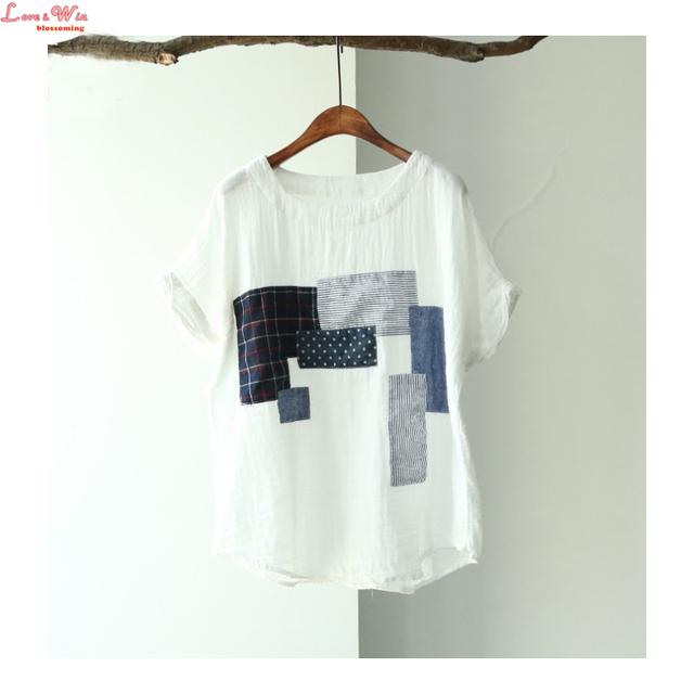 Fios de algodão enrugado branco pullovers remendado camiseta applique única rua legal verão tees