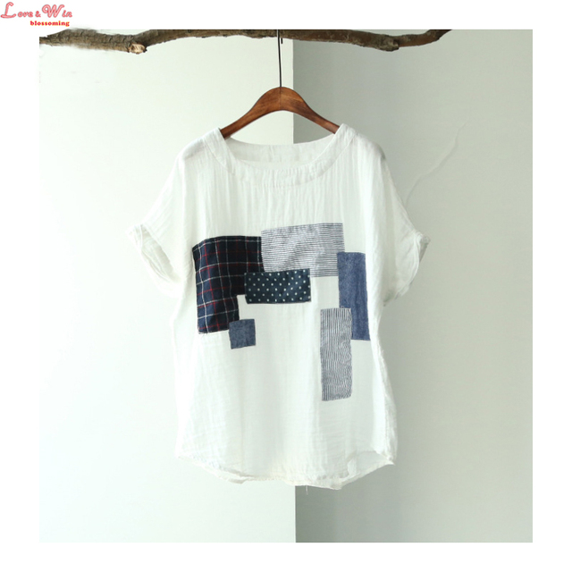 cotton yarn wrinkled white pullovers patched t shirt unique applique cool street summer tees
