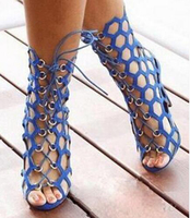Nice Popular Summer Women Shoes Hollow Out Gladiator Sandals Boots Open Toe Lace up High Heels Female Ankle Boots Botines Mujer