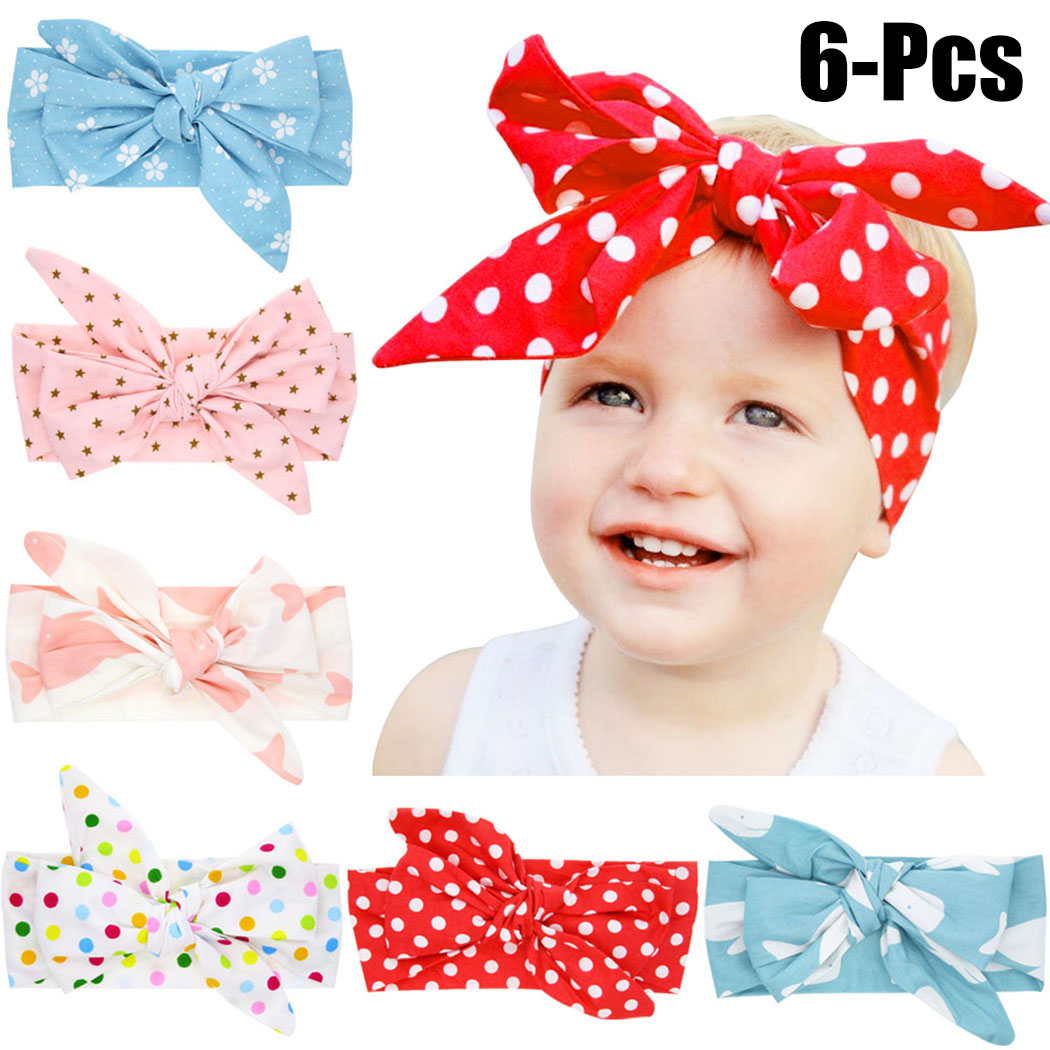 6PCS BabyS Hairband Dotted Cute Cloth Knot Baby Headband Infant Headwrap For Toddler Girl