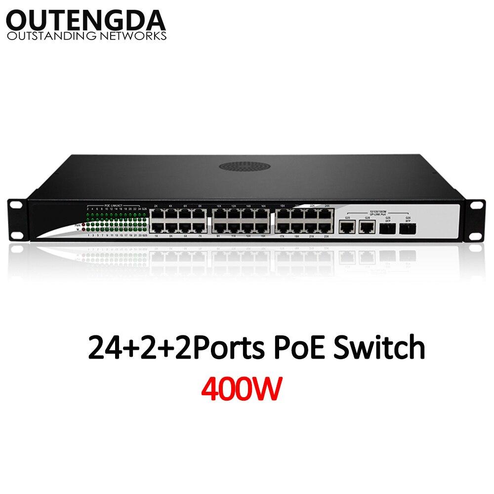 24 10/100 Mbps POE Commutateur Standard 802.3af/à Commutateur avec 2*1000 Mbps UPlink et 2 gigabit SFP pour Caméra IP, sans fil AP