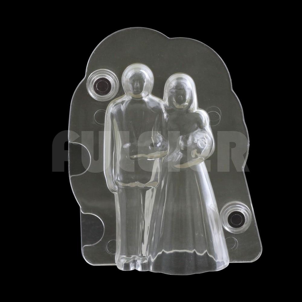 قالب شکلات عروس و داماد 3D عروسکی ، شکلات کیک عروسی و شیرینی تزئین کیک عروسی ابزار پخت قالب قنادی شکلات پلی کربنات