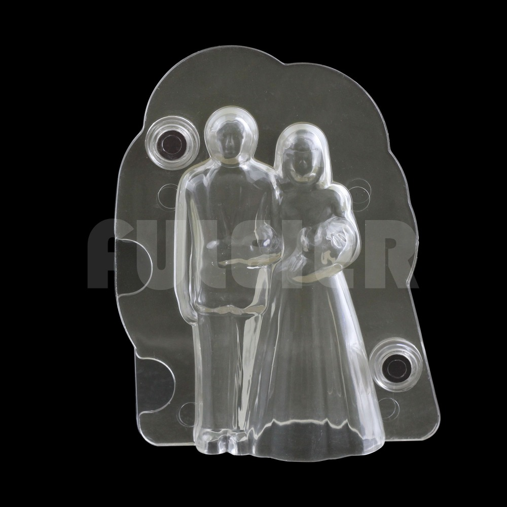 3D პასტიკური პატარძალი და groom საქორწილო შოკოლადის ფორმა, საქორწილო ტორტის დეკორაცია კანფეტი პოლიკარბონატი შოკოლადის ჩამოსხმის საკონდიტრო საცხობი