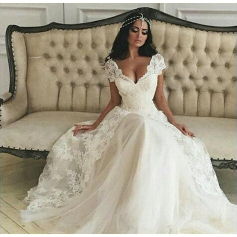 Summer Simple A Line Wedding Dress Lace Cap Sleeve Bridal Gowns