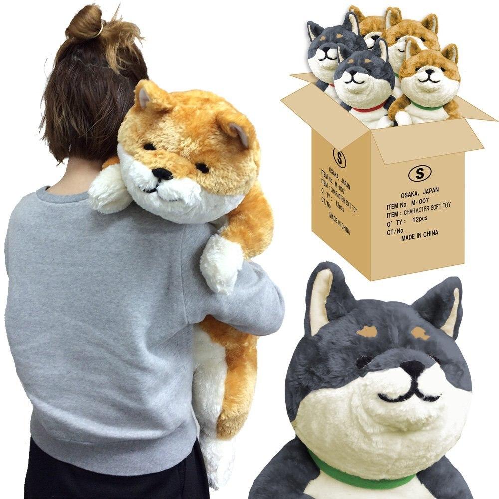 Japan Anime Shiba Inu Plush Dog Toy Giant Animals Dog Doll Akita Toys Strips Nap Pillow for Children Friend 80cm