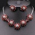 Мода Ювелирные Наборы Цветок Белый Позолоченные Сияющий AAA Циркон Ожерелье Серьги Ювелирные Наборы Для Женщин