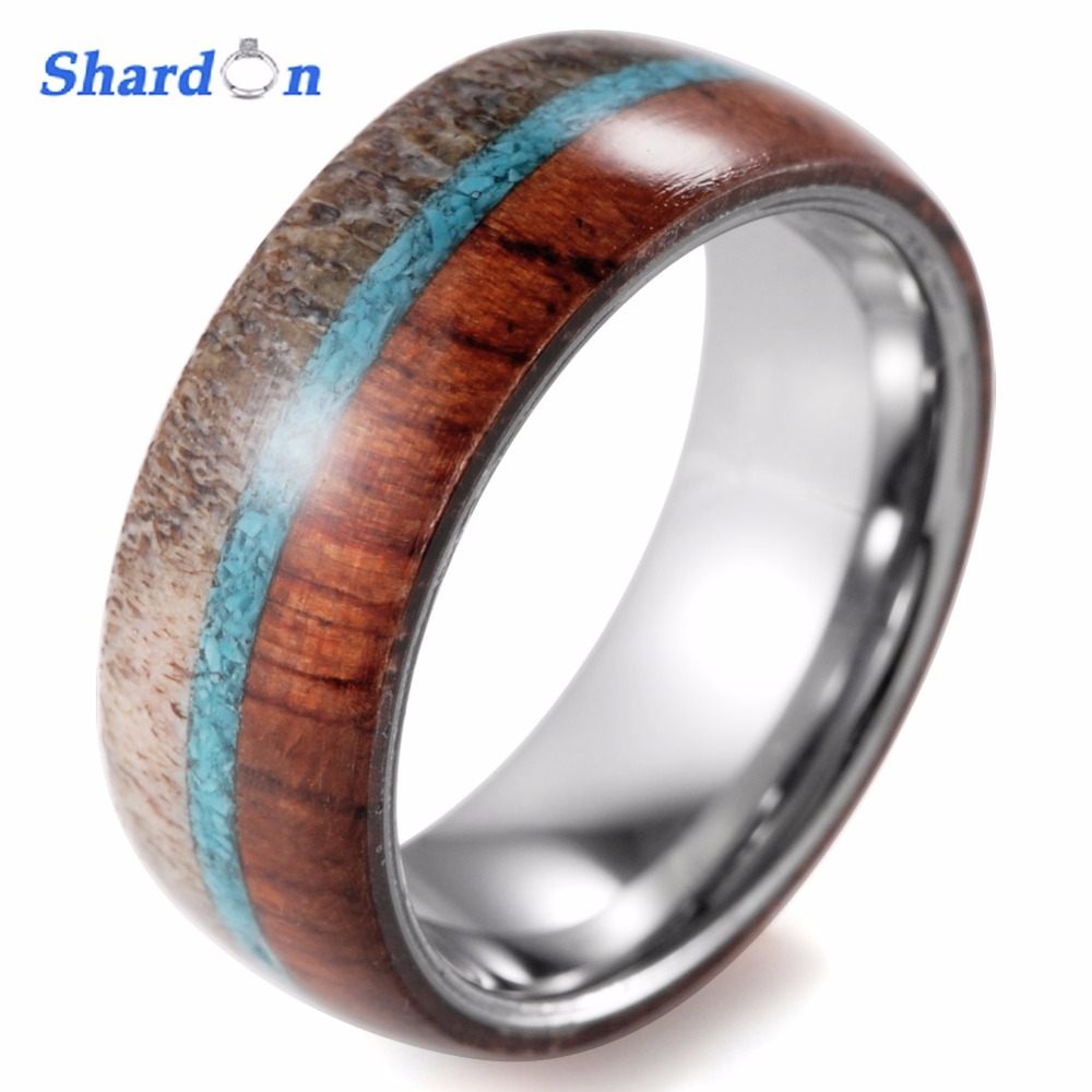Mens Outdoors Bands: SHARDON Domed 8mm Mens Wild Antler And Wood Inlaid