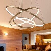 Preto/Branco/Ouro Modernas luzes do pendente para sala de estar sala de jantar 4/3/2/1 anéis círculo acrílico corpo de alumínio CONDUZIU a Lâmpada pendant|Luzes de pendentes| |  -