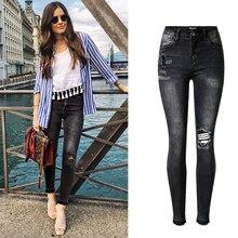 Чистый хлопок отверстие джинсы женщин плюс размер высокое качество мода плиссе ripped винтаж boyfriend все матч ковбой джинсовые брюки D243