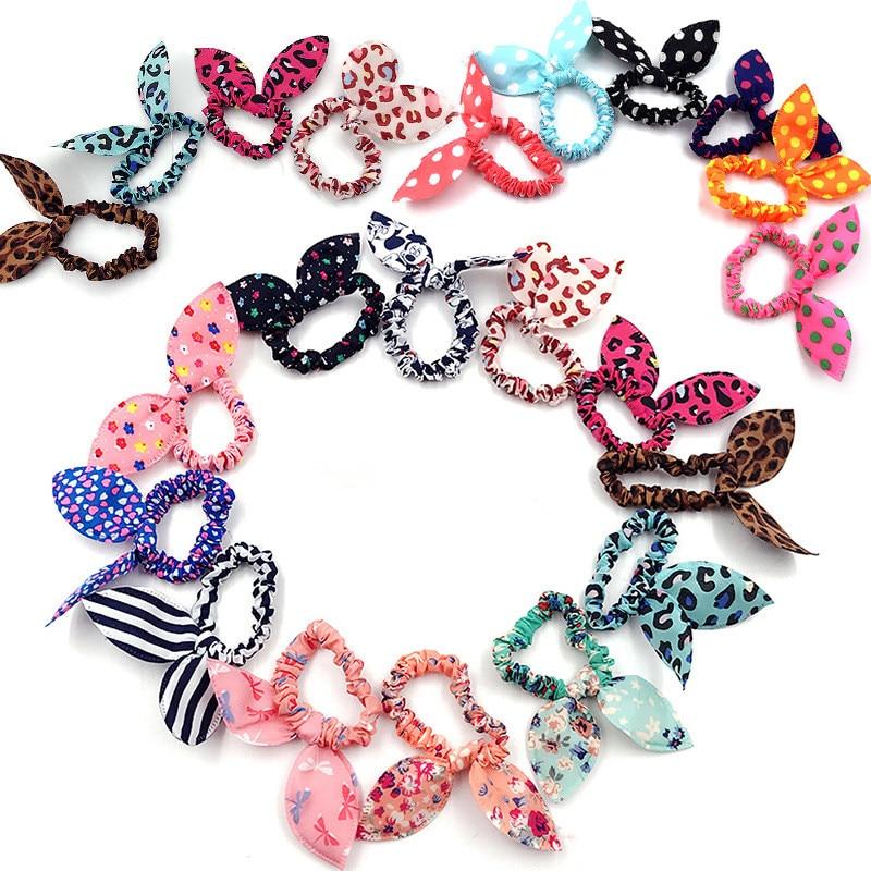 Hair Band Cute Polka Dot Bow Elastic Hairband Rabbit Ears Headband Girl Ring Scrunchy Kids Ponytail Holder Hair Accessories