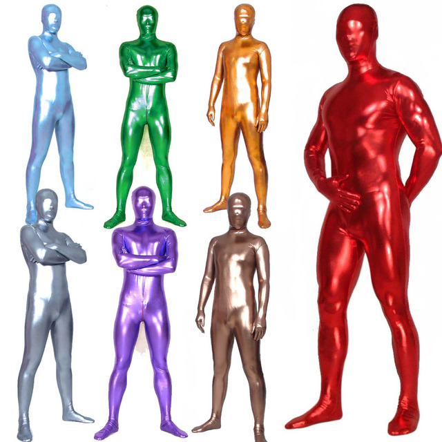 Unisex Shiny Metallic Zentai Skin Tight Full Body Suit Solid Color
