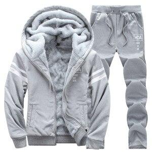Image 3 - 冬男性セットカジュアル暖かい厚手のフード付きジャケット + パンツ 2 pcセット男性インナーフリースパーカージッパートラックスーツ男性スポーツスーツ生き抜く