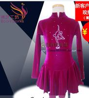 На фигурных коньках платье розовый красный фигурное катание платье конкурс катание одежда для фигурного Пользовательские Бесплатная дост