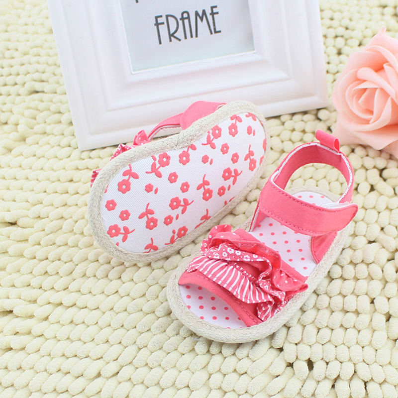 Summer Baby Infant Shoes Toddler Girls Lace Soft Sole Non-slip Floral Shoes 0-18M