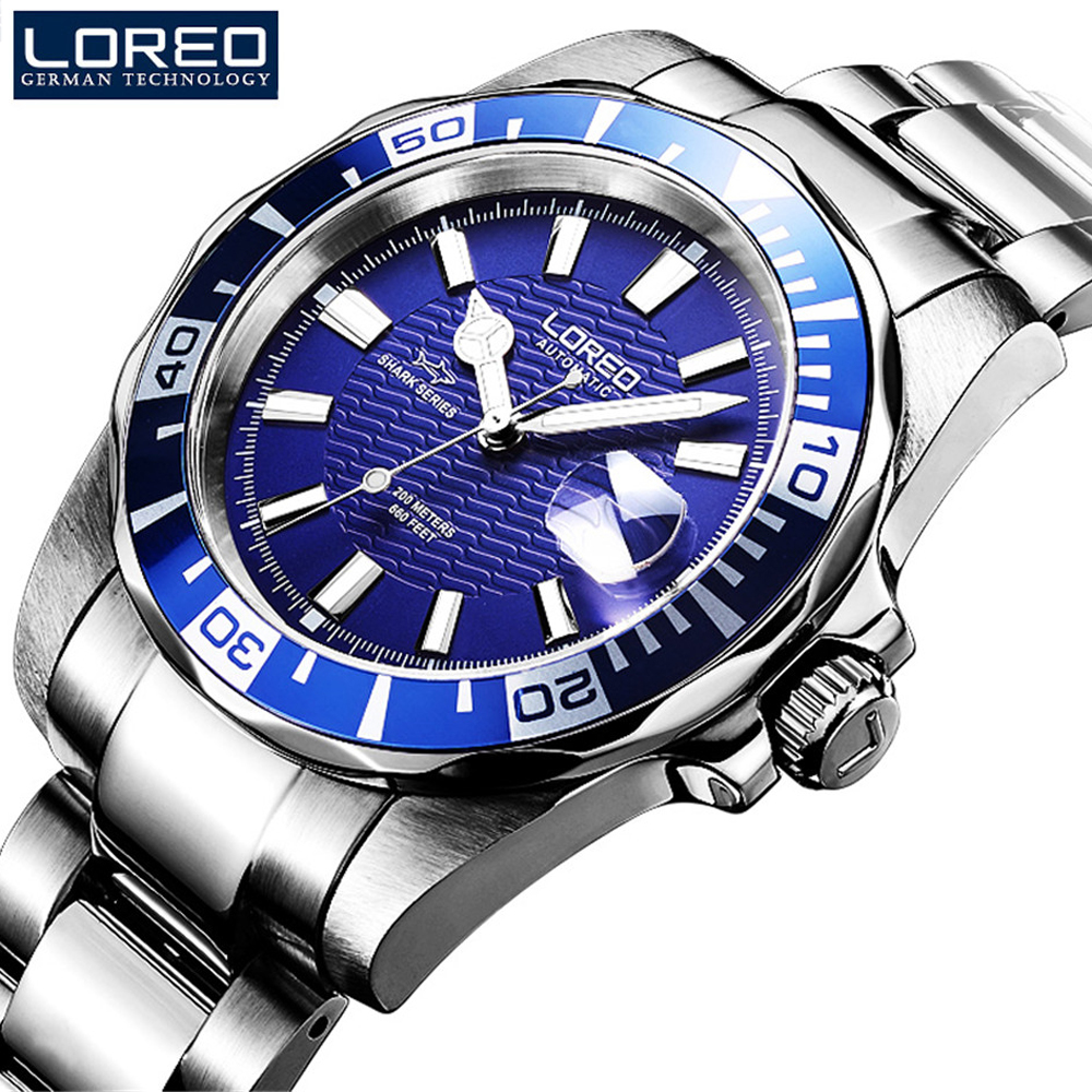 все цены на LOREO Seagull movement Design Sapphire Watches Automatic Mechanical Watch Men Submariner 200M Diver Watches Luminous Watch онлайн