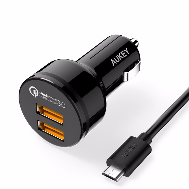 AUKEY Quick Charge 3.0 Car Charger with Dual Ports and Micro-USB Cable for  Samsung Galaxy S7/S6/Edge Nexus 6P/5X LG G5 and More