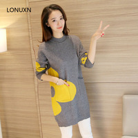 3 colors High quality winter Korean new big flower pocket hit color thick sweater high neck dress warm primer girl pullovers