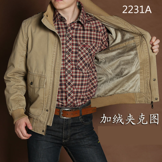 0ce46182523 AFS JEEP 2017 fashion casual brand men winter cotton army green jacket coat  man autumn khaki jackets coats high quality