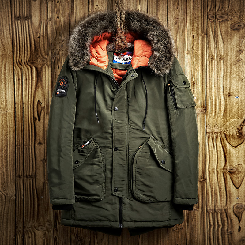 New Men parka High quality Warm Coat Fur Collar Casual Thicken Cotton-padded Army green Blue Black Long Overcoat Winter jacket thickening warm fur collar winter coat new 2016 women clothes lamb wool jacket hooded parka army green overcoat xl a3878