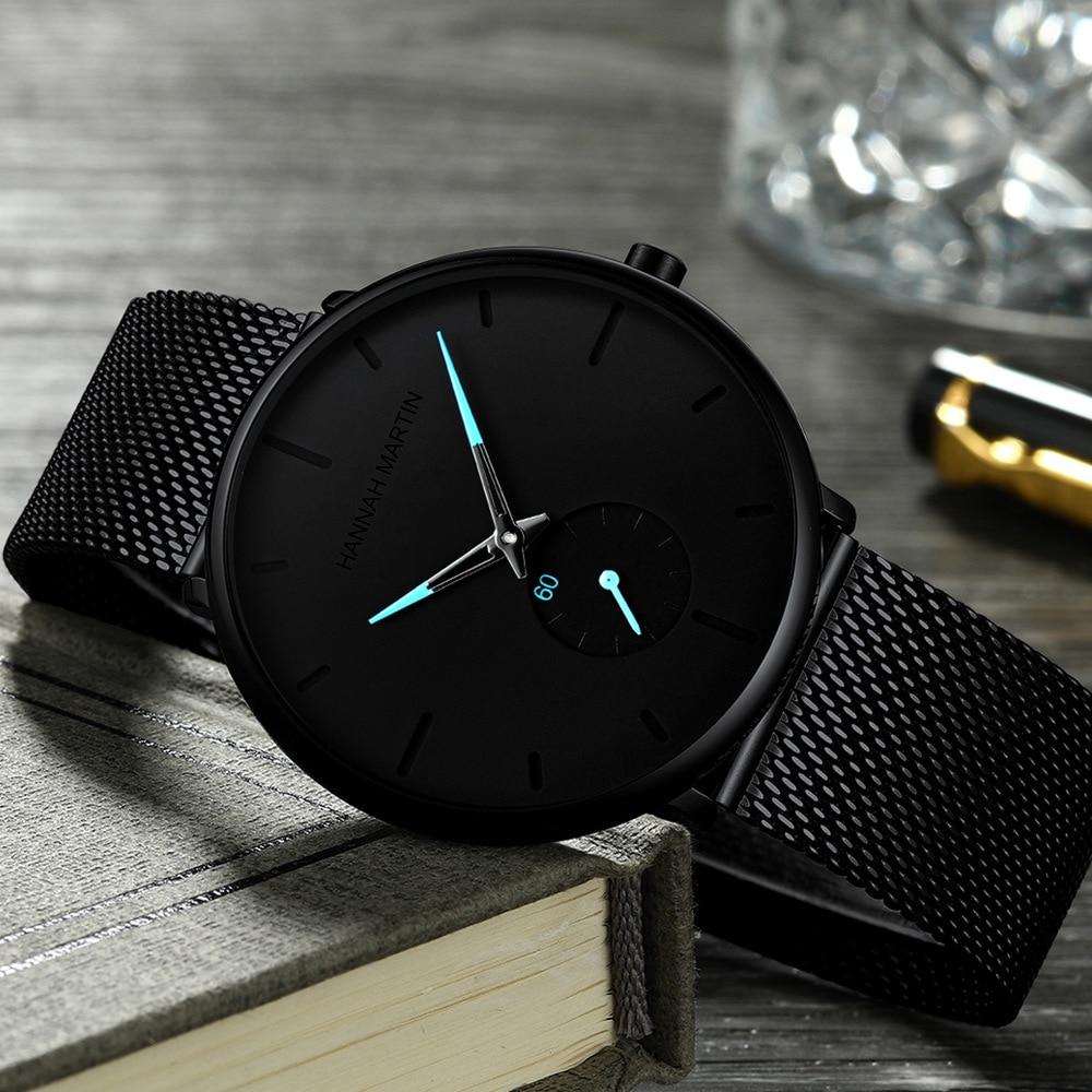 Hannah Martin Ultra Thin Analog Watches Men Classic Black Steel Chronograph Business Watch Unisex Minimalist Wrist Watch Relogio