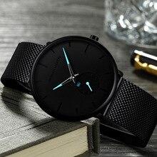 Hannah Martin Ultra Thin Analog Watches Men Classic Black Steel Chronograph Business Watch Unisex Minimalist Wrist Watch Relogio цена и фото