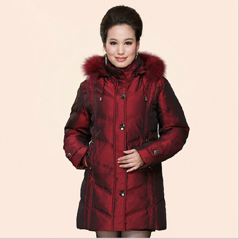 Mother's Winter Duck Down Parkas Nice New Europe Women Fashion High Quality Jacket Fox Fur Hooded Thicken Warm Long Coats S1251