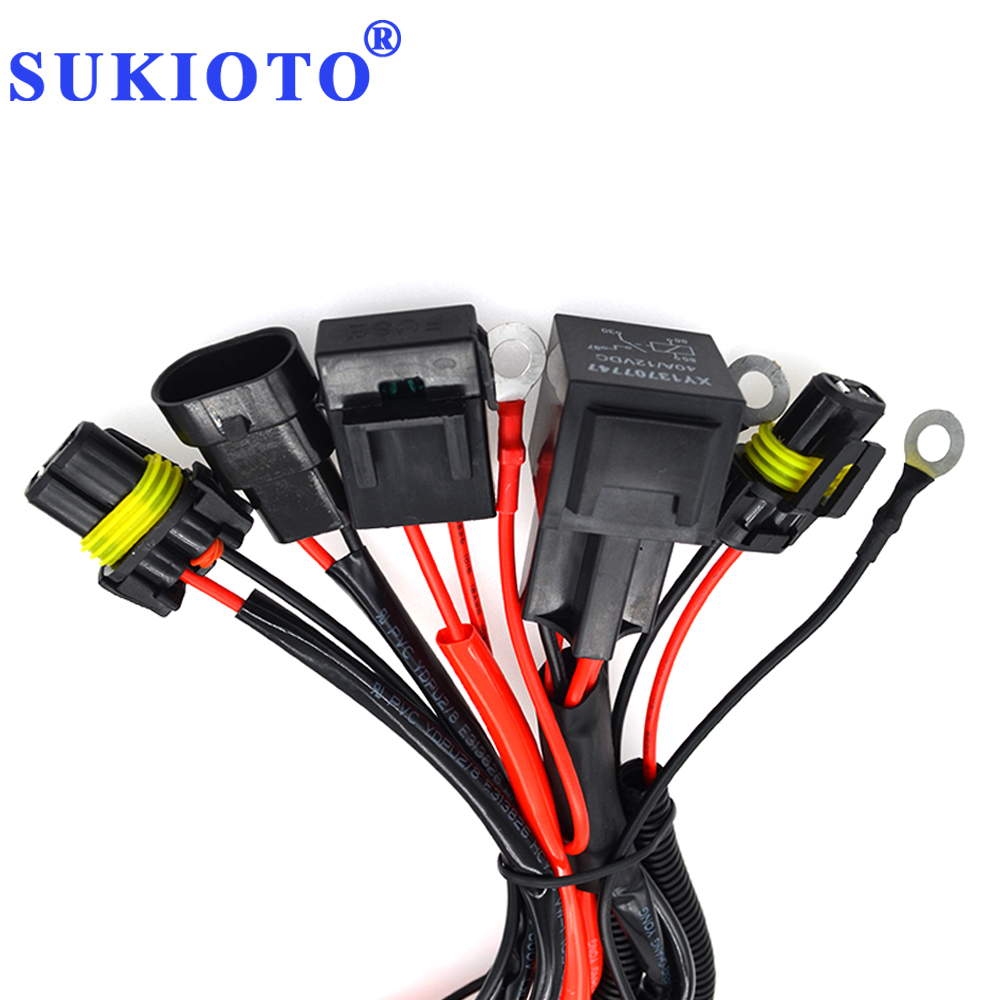 SUKIOTO 40A Relay 9005 9006 H1 H3 H7 H11 D2H Relay Harness Wire Extension Cable Xenon Light Controller H7 Socket Adapter Plugs (3)