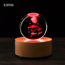 XINTOU 80 mm Crystal Rose Flower Ball Valentine's Day Wedding Home Articles Decoration Gift Wooden Bluetooth Music Speaker Box