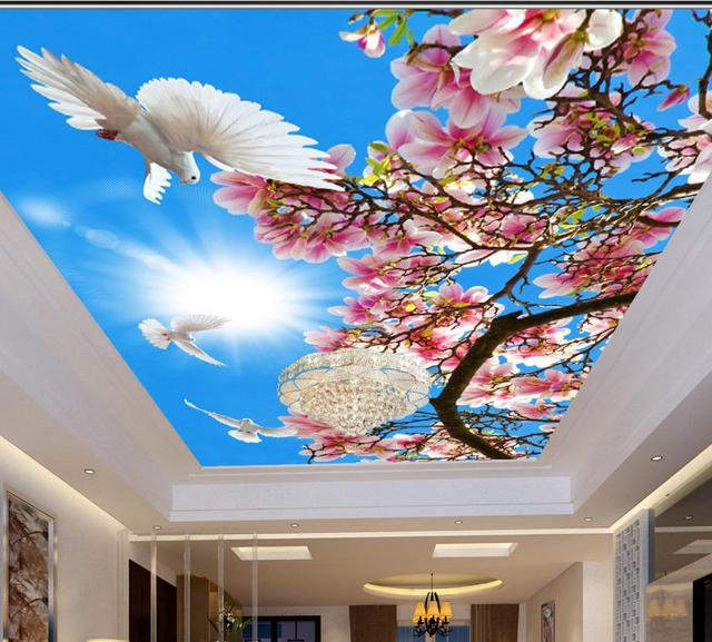 Custom 3d ceiling paint blue flowers pigeons ceiling wallpaper 3d ceiling decor wallpaper for home decoration