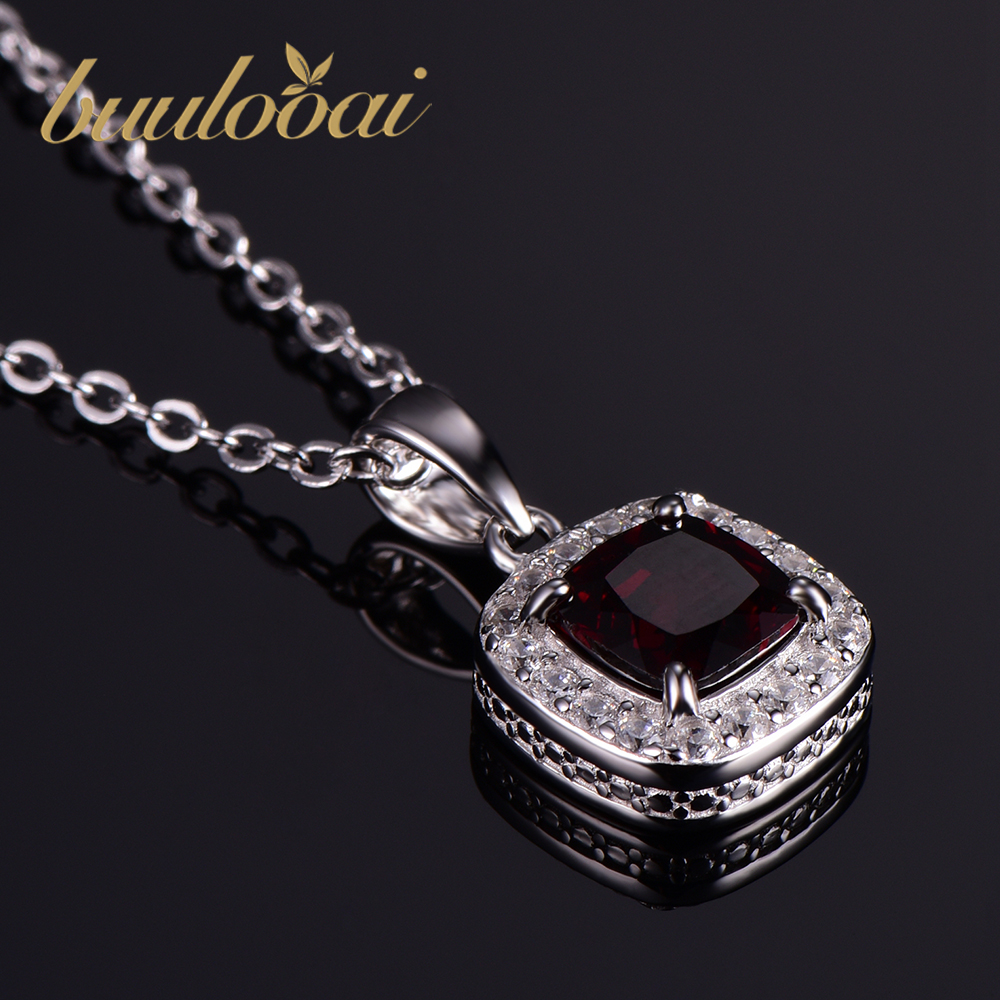 Women Nice Buulooai Genuine 1.2ct Natural Garnet Pendants 925 Sterling Silver Fine Wedding Jewelry For Women Sterling-silver-jewelry Suitable For Men And Children