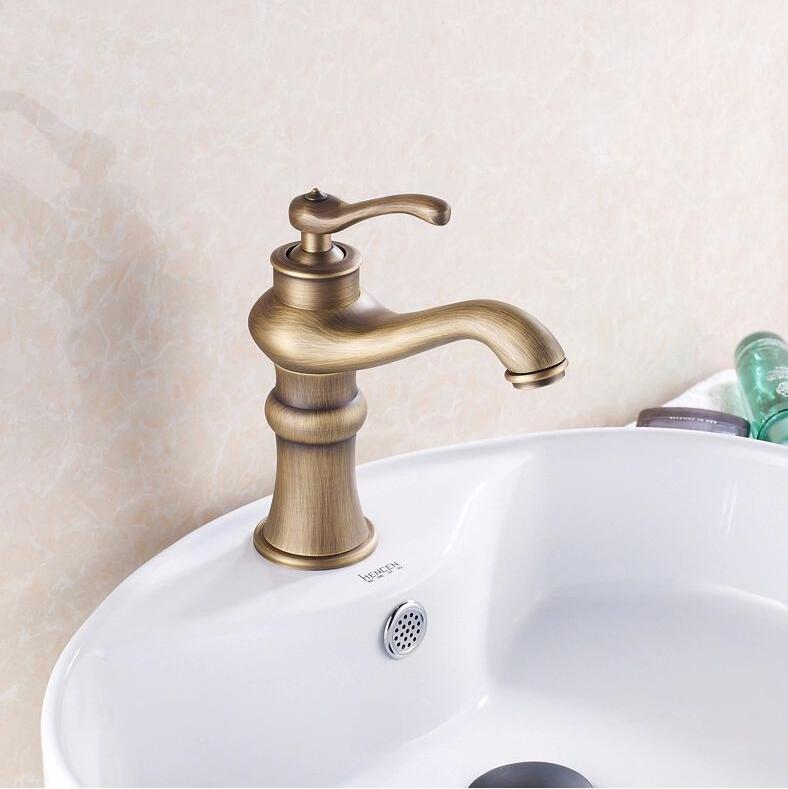 New pattern Retro Faucet Bathroom Sink Basin Faucet Antique Brass ...