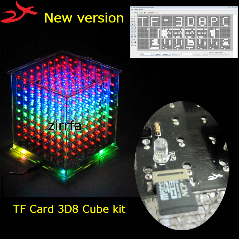 New mini multicolor 3D 8 8x8x8 light cubeeds kit audio spectrum for TF card led electronic