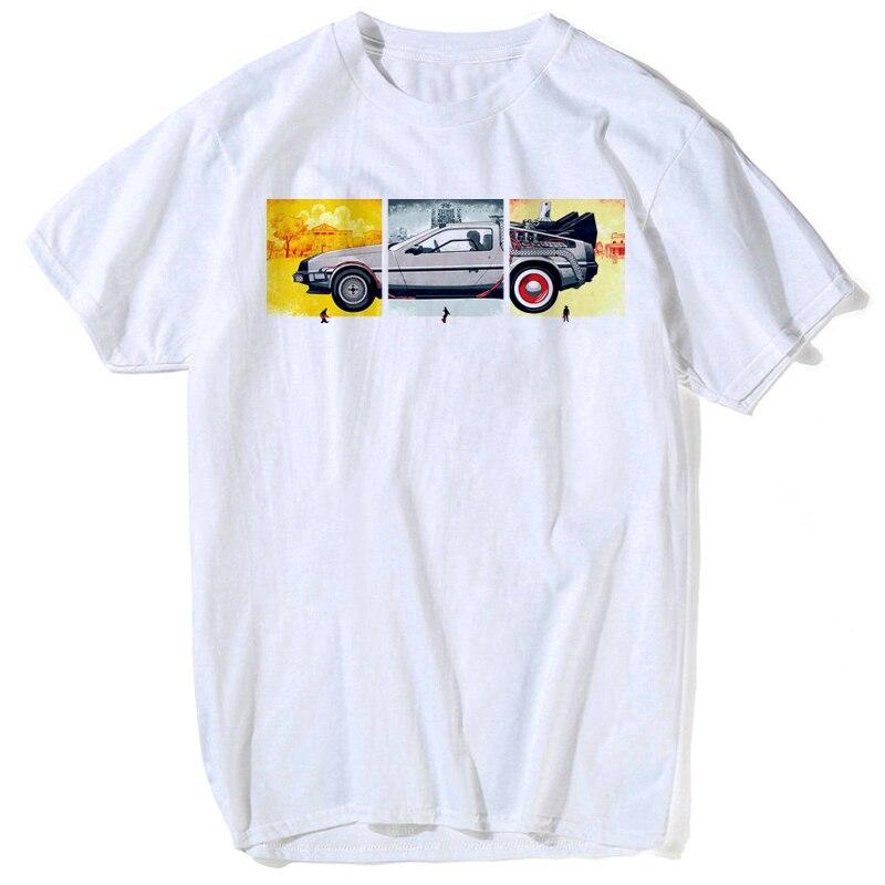 2018 Mode Terug Naar De Toekomst Auto Tshirt Harajuku Stijl Top Kwaliteit Down Prijs Katoen Grappige Mannen T Shirts Wit Cartoon Tee