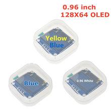 Tela lcd para arduino, cores branca e azul 128x64, amarelo, azul, oled, 0.96 polegadas, iic serial, novo original