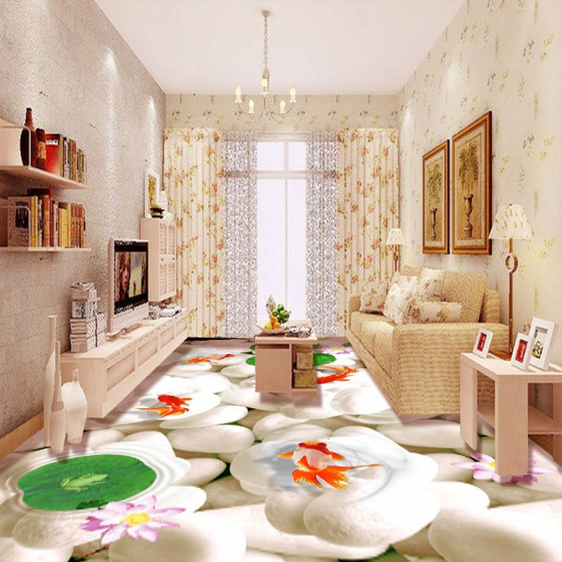 ФОТО Free Shipping 3D white pebble goldfish lotus bathroom floor stickers non-slip thickened square living room lobby flooring mural