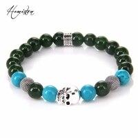 Thomas Cross Green Agate Turquoise Skull Bead Bracelet Natural Stone Rebel Heart Style Jewelry For Women