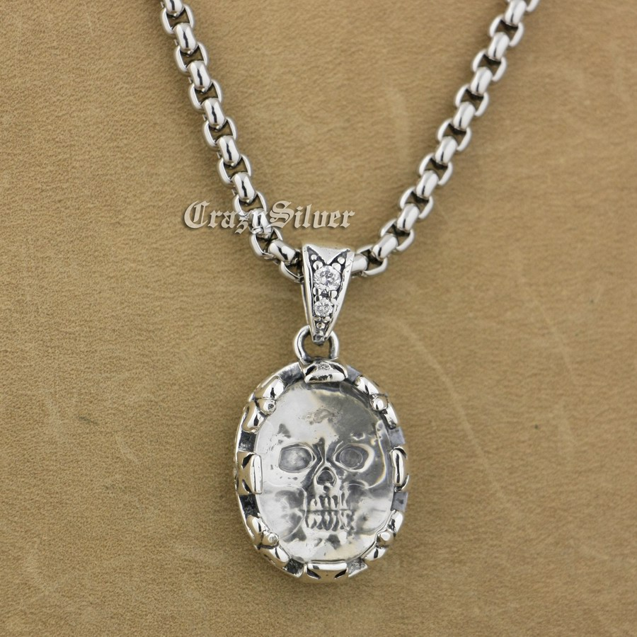 925 Sterling Silver White CZ Skull Mens Biker Pendant 9S011A Steel Necklace 24 solid 925 sterling silver skull mens biker pendant 8c011 with matching stainless steel necklace
