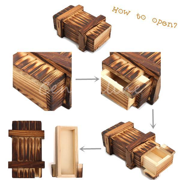 Vintage Wooden Magic Box Secret Puzzle Drawer New Arrival Kid Funny Size L Brain Teaser Toy Magic Trick Wooden Puzzle Box Toys