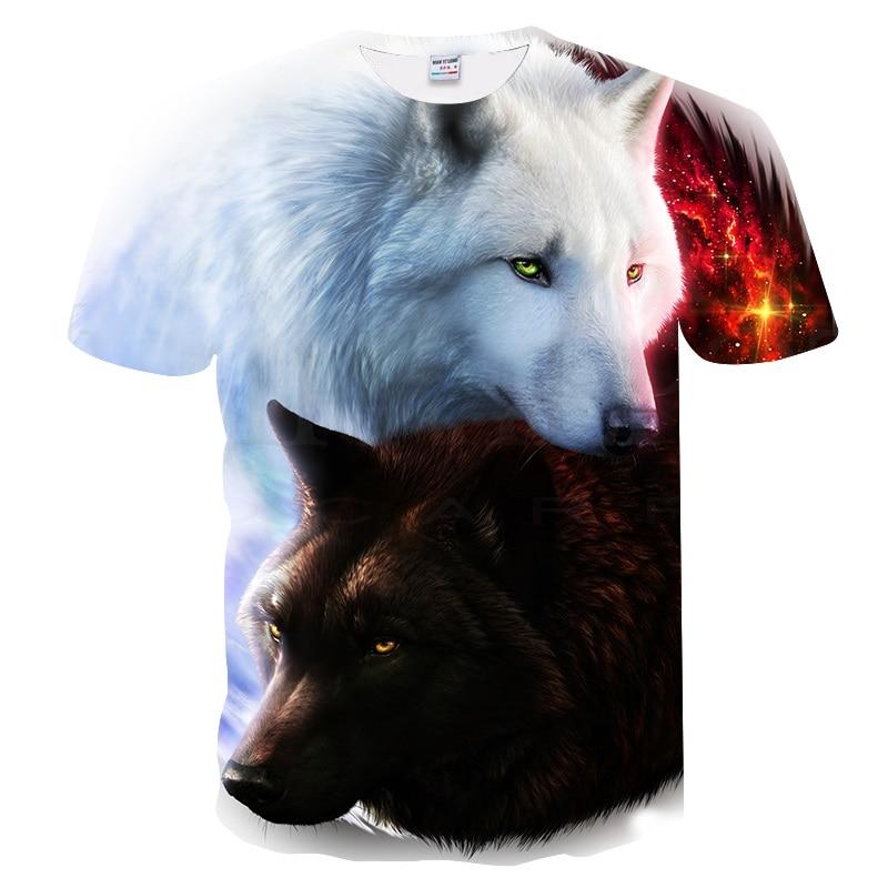 2019 Newest Wolf 3D Print Animal Cool Funny   T  -  Shirt   Men Short Sleeve Summer Tops Tee   Shirt     T     Shirt   Male Fashion tshirt Male 6XL