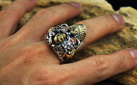 S925 silver, European and American punk retro taekwondo ring character men's swagger ring hip hop punk style simple and generous