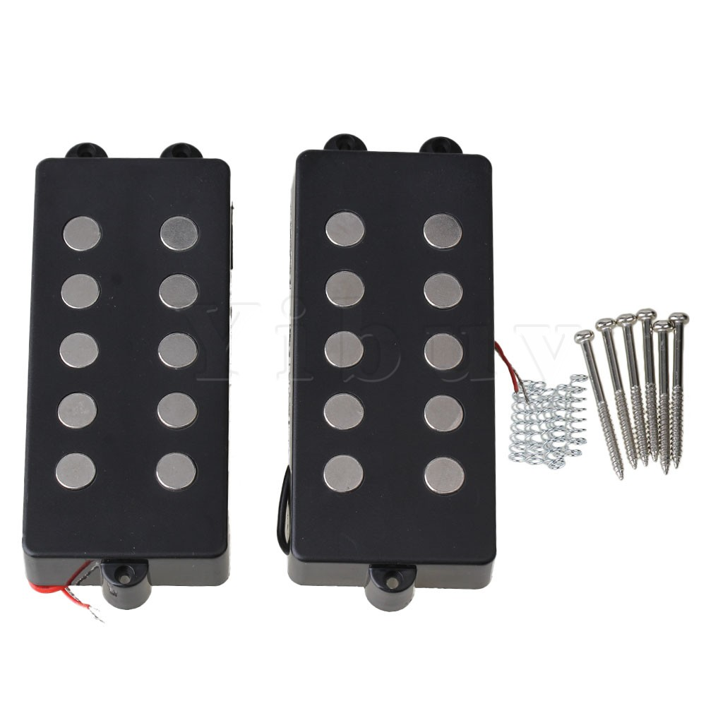 Yibuy 2pcs 5 String Bass Guitar Pickup Humbucker For M Bass Replacement belcat bass pickup 5 string humbucker double coil pickup guitar parts accessories black