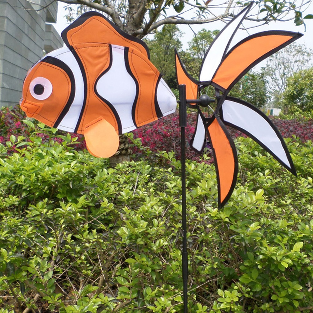 3D Fish Windmill Outdoor Toy Kids Gift Colorful Wind Spinner Garden ...