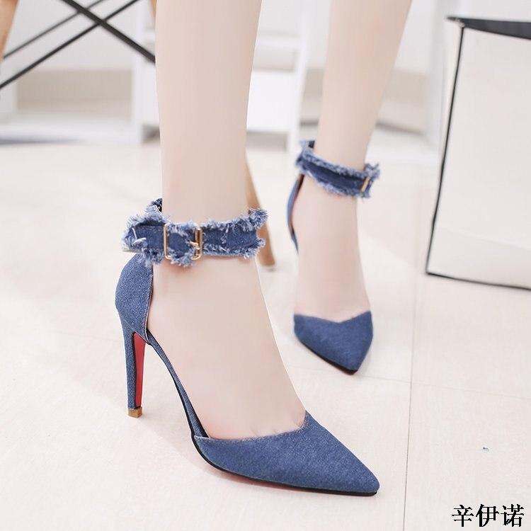 Del Nuevo Azul Dedo sky 10 Zapatos Cm Mujer Tacón 2019 Sexy Puntiagudo La 35 40 Denim Blue Blue Fiesta Tobillo Pie Correa Alta De Boda XwdxnAq