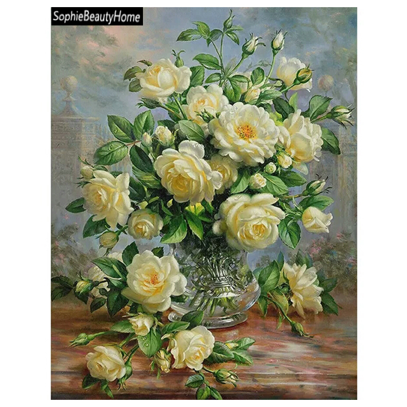 5D Diamond Cross Stitch Crystal Full Decoration Diy Painting White Rose Diamond Embroidery Maxwell Wall Decoration