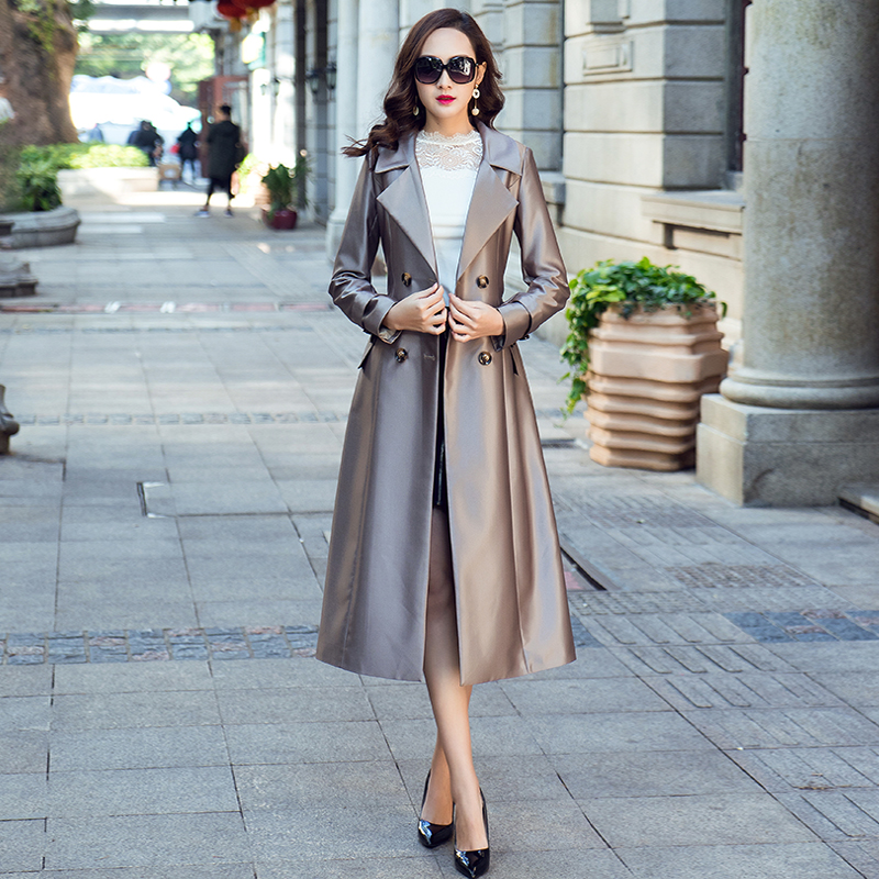 New Design   Trench   Coat Women 2019 Spring Autumn Double Breasted Casual Large Size Silver Grey Long Womens Windbreakers With Belt
